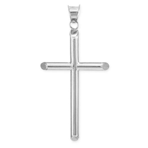 Polished White Gold Tube Cross Pendant