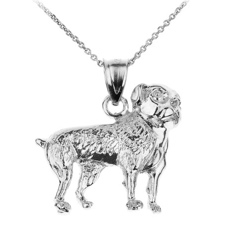 Sterling Silver American Bulldog Pendant Necklace