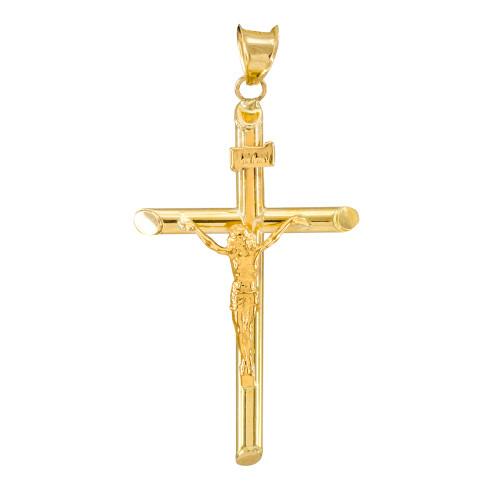 14K Gold Polished Tube Crucifix Pendant