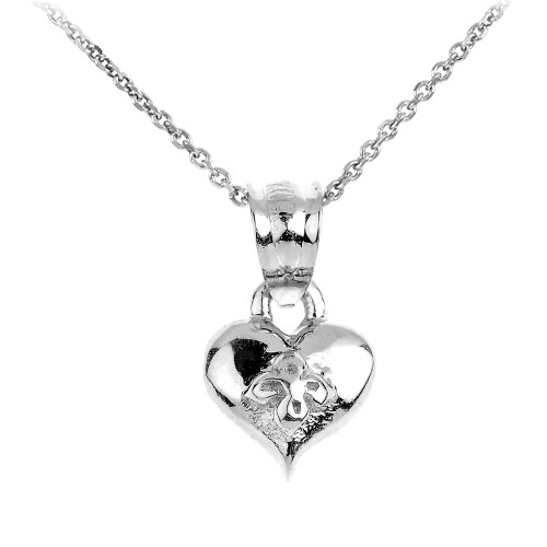 White Gold Baby Heart Charm Pendant Necklace