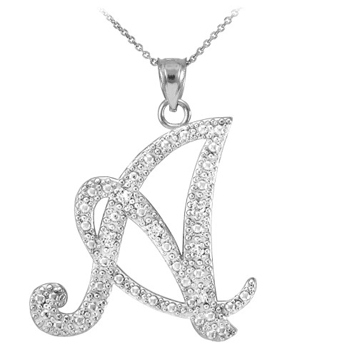 """Sterling Silver Letter Script """"A"""" CZ Initial Necklace"""