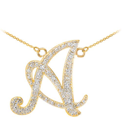 """14k Gold Letter Script """"A"""" Diamond Initial Necklace"""