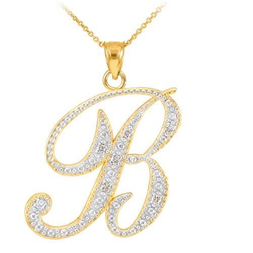 """14k Gold Letter Script """"B"""" Diamond Initial Pendant Necklace"""
