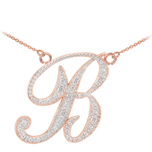 "14k Rose Gold Letter Script ""B"" Diamond Initial Necklace"
