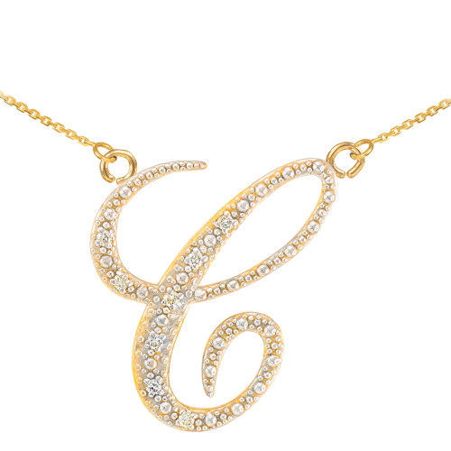 "14k Gold Letter Script ""C"" Diamond Initial Necklace"