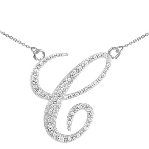 "14k White Gold Letter Script ""C"" Diamond Initial Necklace"