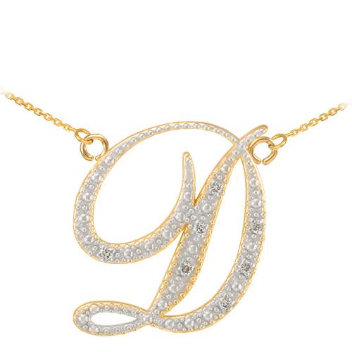 """14k Gold Letter Script """"D"""" Diamond Initial  Necklace"""