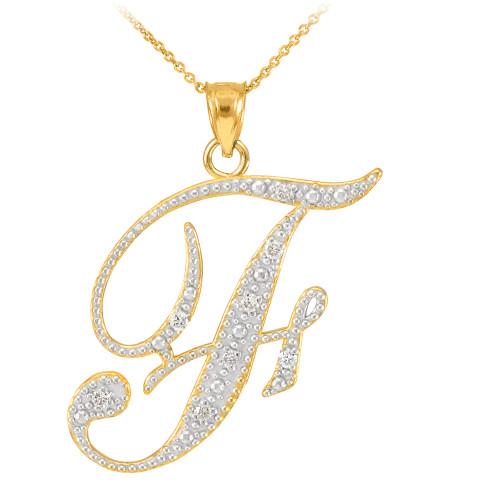 """14k Gold Letter Script """"F"""" Diamond Initial Pendant Necklace"""