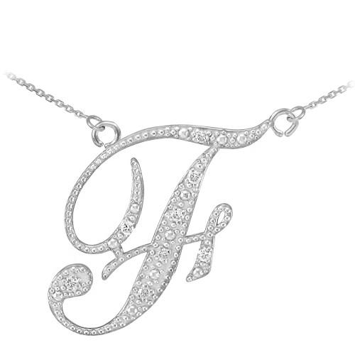 "14k White Gold Letter Script ""F"" Diamond Initial Necklace"