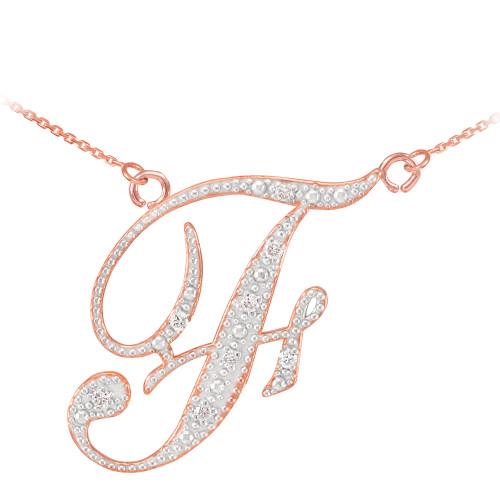 "14k Rose Gold Letter Script ""F"" Diamond Initial Necklace"