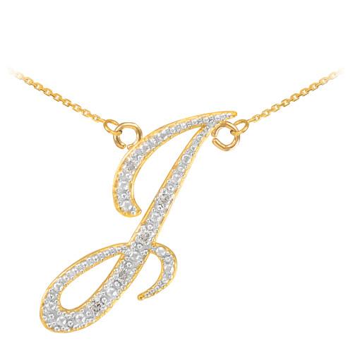 "14k Gold Letter Script ""I"" Diamond Initial Necklace"