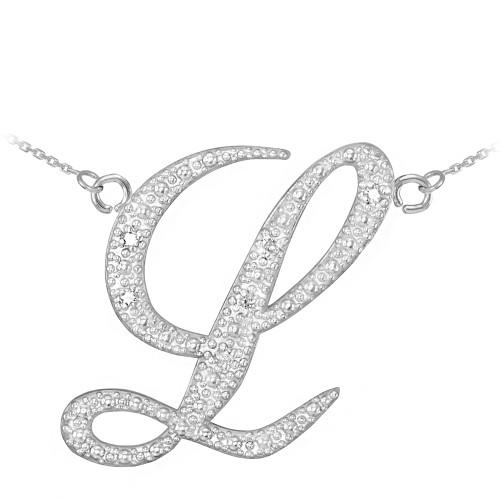 """14k White Gold Letter Script """"L"""" Diamond Initial Necklace"""