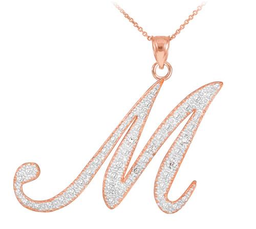 """14k Rose Gold Letter Script """"M"""" Diamond Initial Pendant Necklace"""