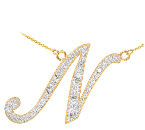 "14k Gold Letter Script ""N"" Diamond Initial Necklace"