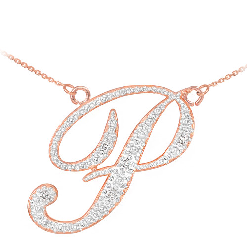 """14k Rose Gold Letter Script """"P"""" Diamond Initial Necklace"""