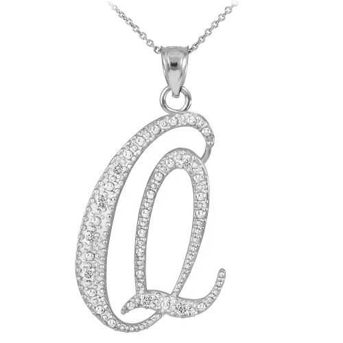 """14k White Gold Letter Script """"Q"""" Diamond Initial Pendant Necklace"""