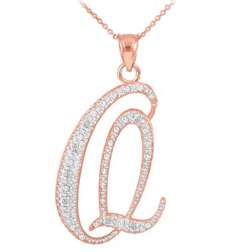 """14k Rose Gold Letter Script """"Q"""" Diamond Initial Pendant Necklace"""