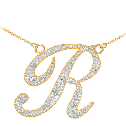 "14k Gold Letter Script ""R"" Diamond Initial Necklace"