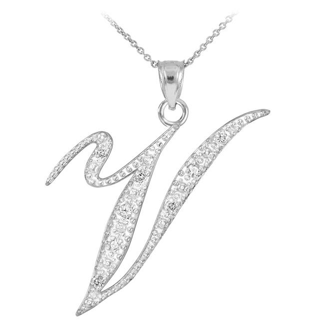 """14k White Gold Letter Script """"V"""" Diamond Initial Pendant Necklace"""