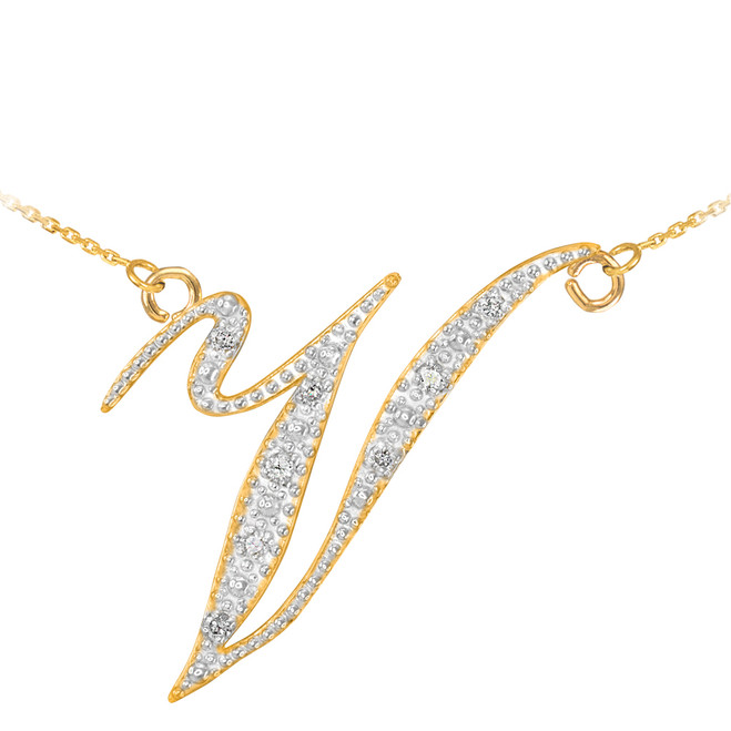 "14k Gold Letter Script ""V"" Diamond Initial Necklace"