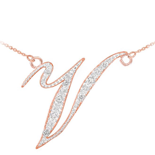 "14k Rose Gold Letter Script ""V"" Diamond Initial Necklace"