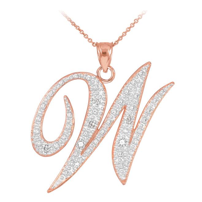 """14k Rose Gold Letter Script """"W"""" Diamond Initial Pendant Necklace"""