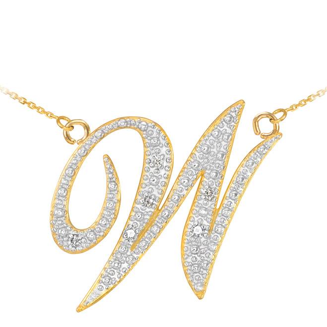 "14k Gold Letter Script ""W"" Diamond Initial Necklace"