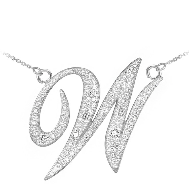 "14k White Gold Letter Script ""W"" Diamond Initial Necklace"