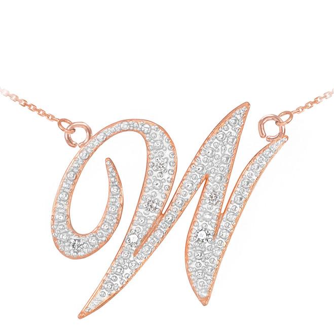 "14k Rose Gold Letter Script ""W"" Diamond Initial Necklace"