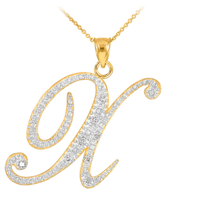 "14k Gold Letter Script ""X"" Diamond Initial Pendant Necklace"