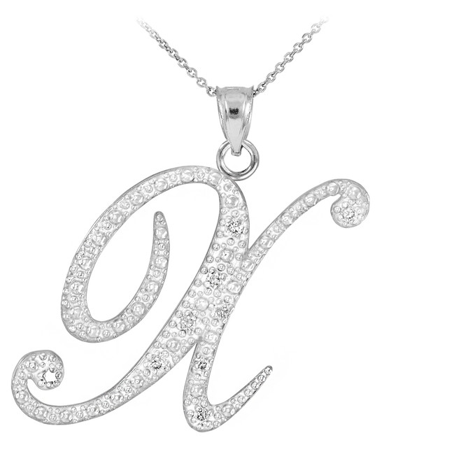 "Sterling Silver Letter Script ""X"" CZ Initial Necklace"