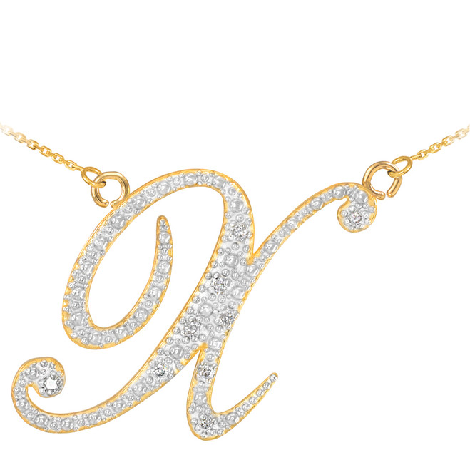 "14k Gold Letter Script ""X"" Diamond Initial Necklace"