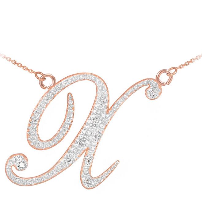 "14k Rose Gold Letter Script ""X"" Diamond Initial Necklace"