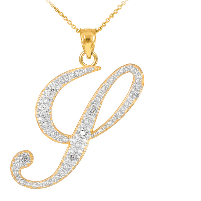 "14k Gold Letter Script ""Y"" Diamond Initial Pendant Necklace"