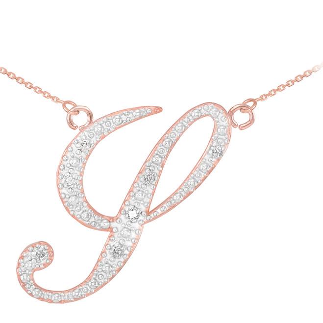 "14k Rose Gold Letter Script ""Y"" Diamond Initial Necklace"
