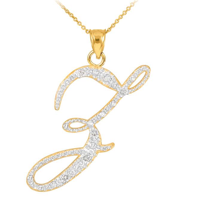 """14k Gold Letter Script """"Z"""" Diamond Initial Pendant Necklace"""