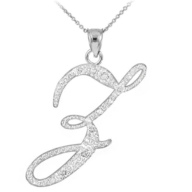 "14k White Gold Letter Script ""Z"" Diamond Initial Pendant Necklace"