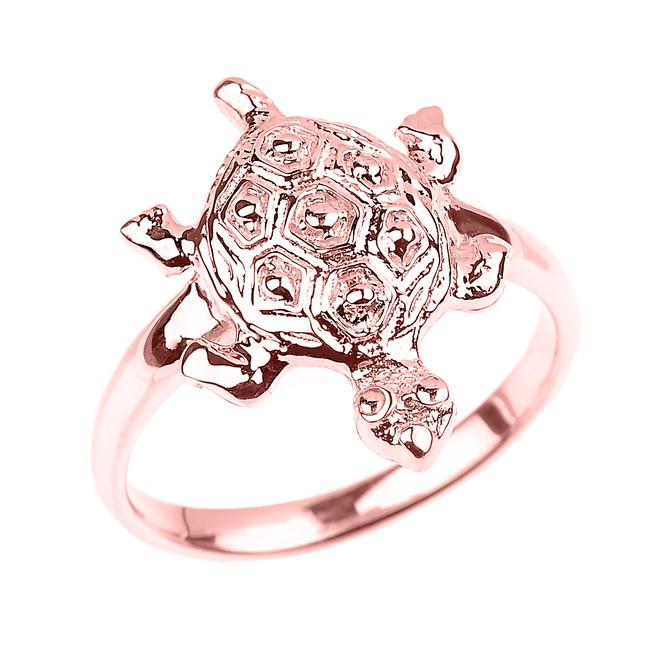 Solid Rose Gold Turtle Ladies Ring