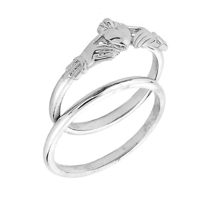 White Gold Claddagh Engagement Ring Set