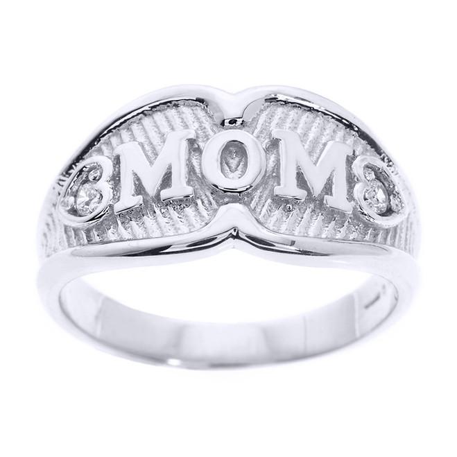 "White Gold ""MOM"" CZ Ring"