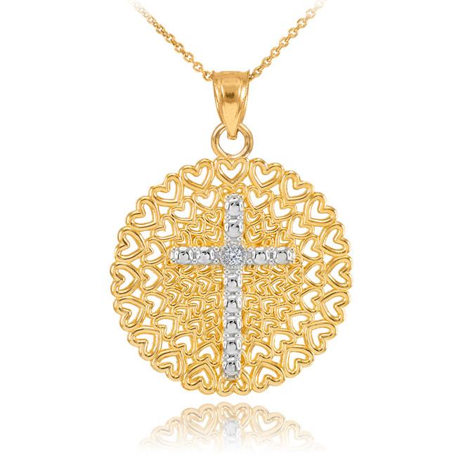 Two-Tone Gold Filigree Heart Cross Diamond Pendant Necklace