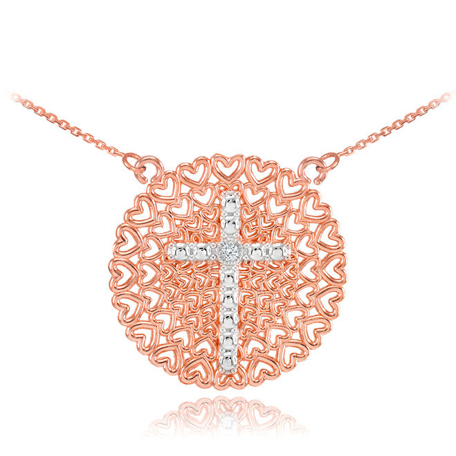 Two-Tone Rose Gold Filigree Heart Cross Diamond Necklace