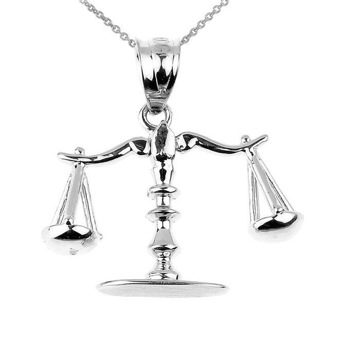 White Gold 3D Scales of Justice Charm Pendant Necklace
