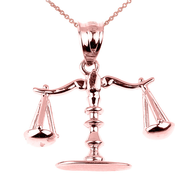 Rose Gold 3D Scales of Justice Charm Pendant Necklace