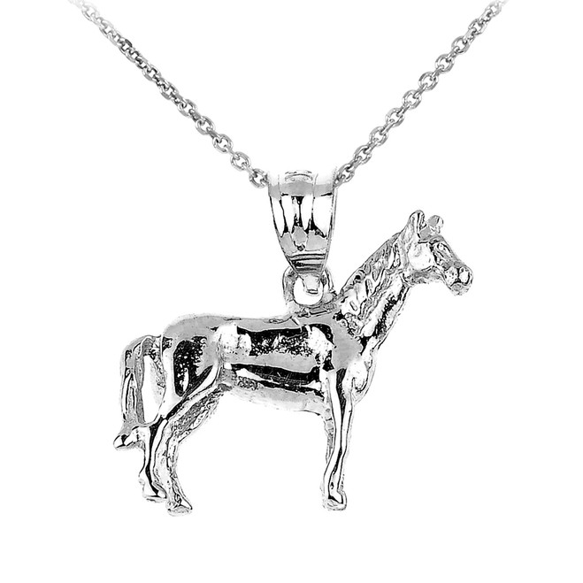 Sterling Silver Horse Charm Pendant Necklace