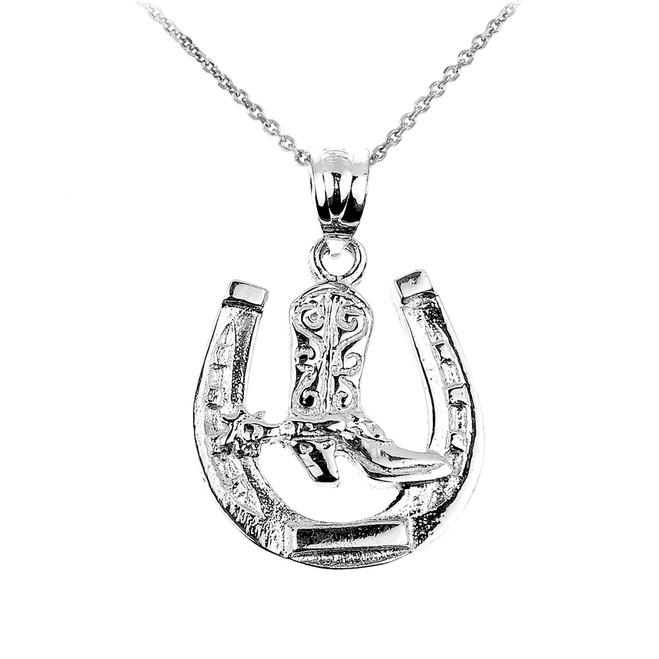 White Gold Lucky Horseshoe Charm Pendant Necklace