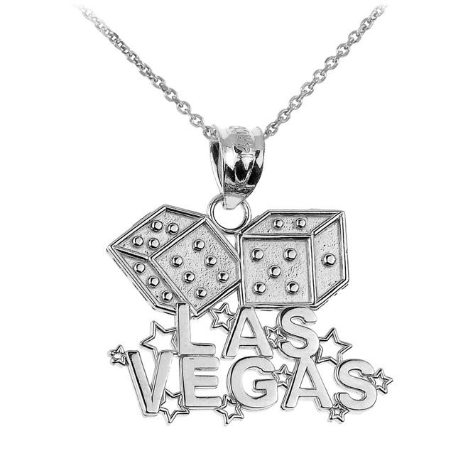 White Gold LAS VEGAS Dice Pendant Necklace
