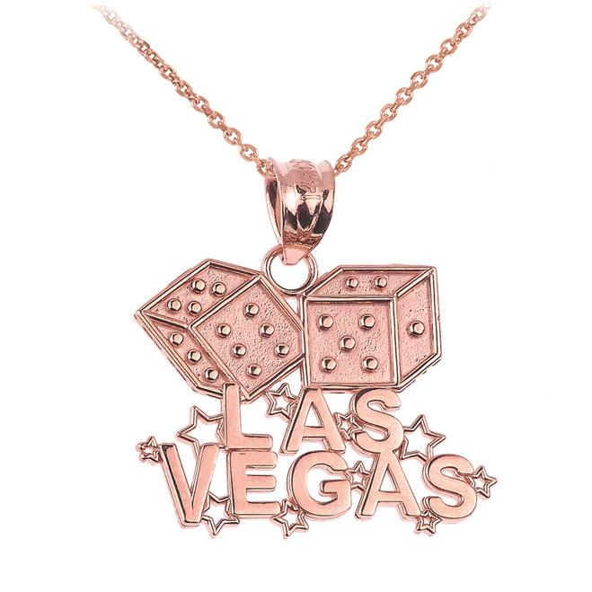 Rose Gold LAS VEGAS Dice Pendant Necklace