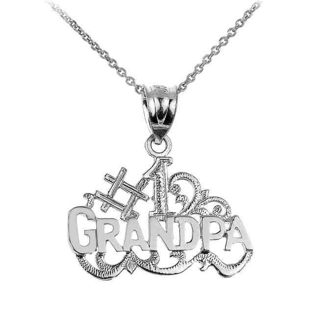 White Gold GRANDPA Pendant Necklace