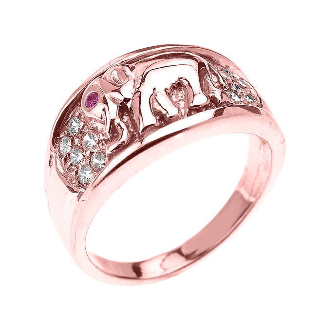 Rose Gold White and Red CZ Elephant Ring